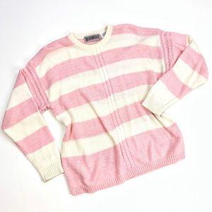 Vintage Worthington   Pink White Stripe Sweater